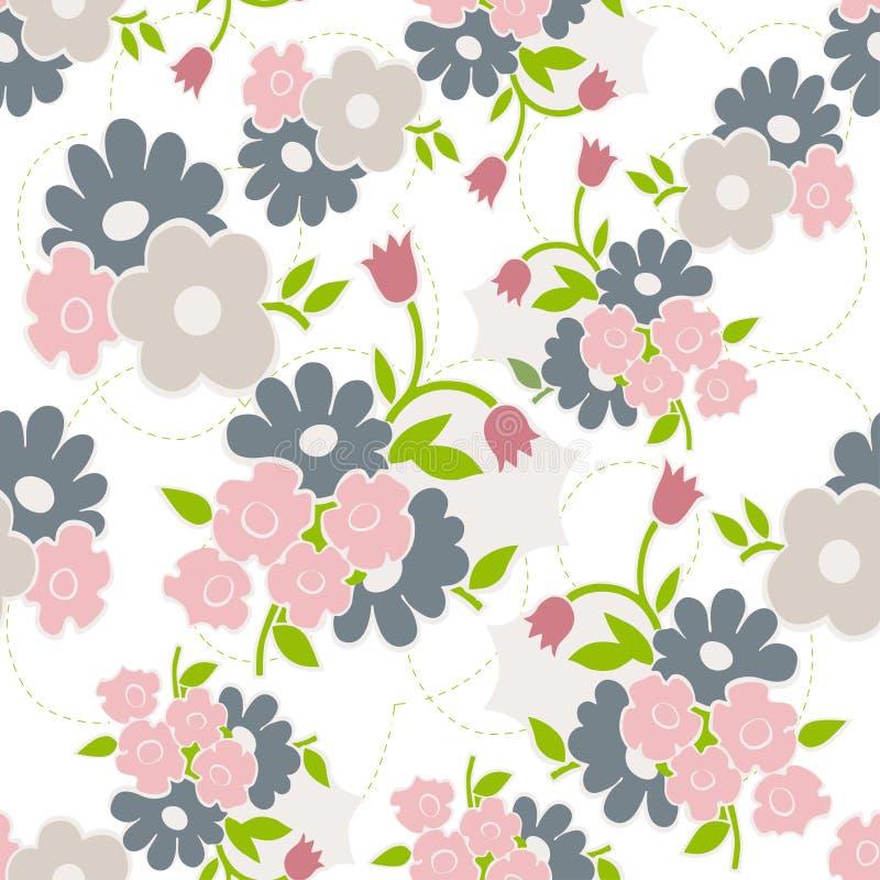 Modèle sans couture floral avec les fleurs simples illustration de vecteur