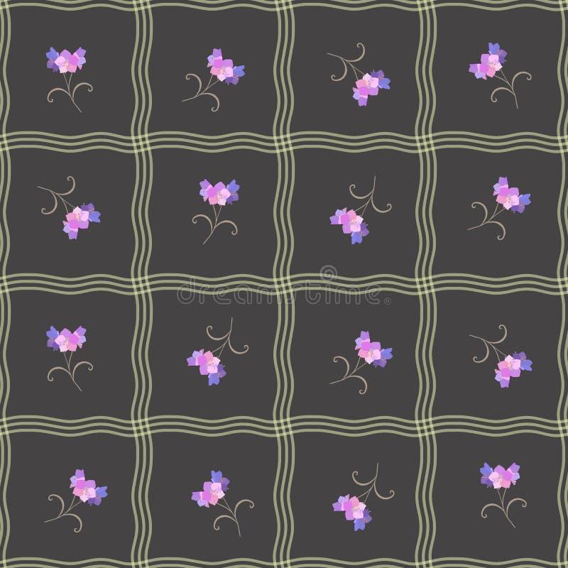 Modèle sans couture floral avec les vagues abstraites et les fleurs de cloche lilas sur le fond noir illustration libre de droits