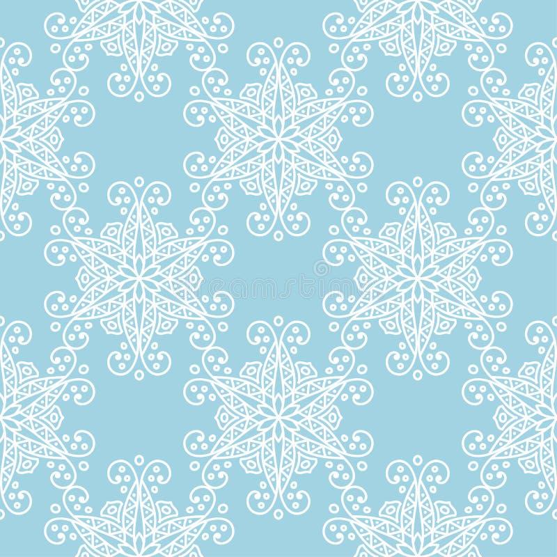 Modèle sans couture floral blanc sur le fond de bleu marine illustration de vecteur