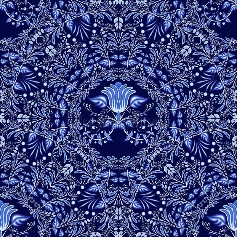 Modèle sans couture floral bleu-foncé des ornements circulaires avec des éléments de style folklorique de gzhel ou de peinture ch illustration de vecteur