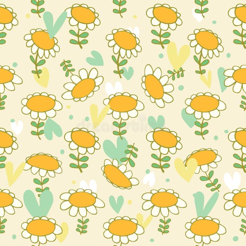 Modèle sans couture floral Camomiles t sensible de bébé illustration stock