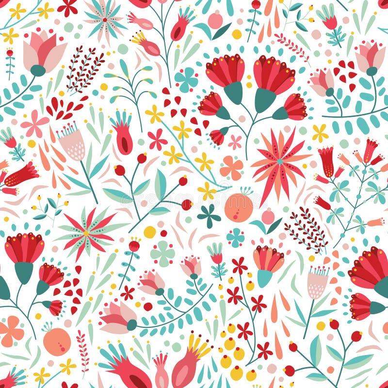 Modèle sans couture floral coloré avec des baies, des feuilles et des fleurs sur le fond blanc Contexte botanique décoratif illustration de vecteur