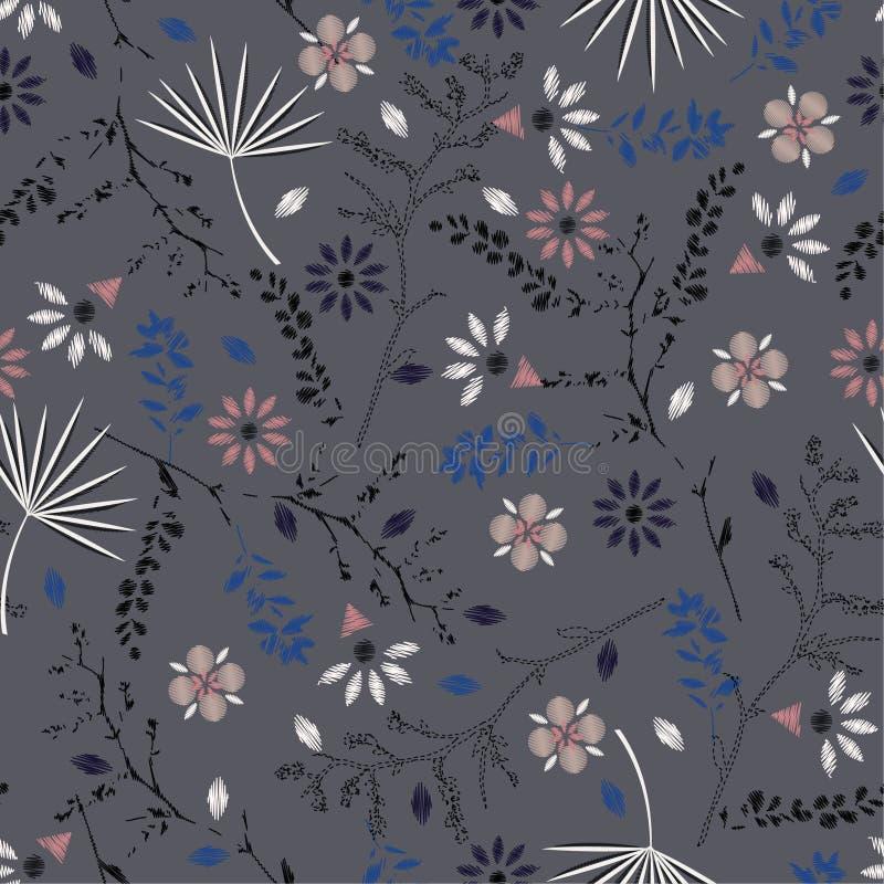 Modèle sans couture floral coloré de belle broderie avec le liber illustration stock