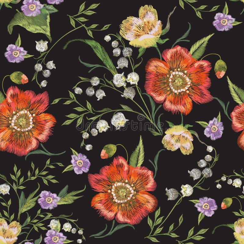Modèle sans couture floral coloré de broderie avec des pavots illustration libre de droits