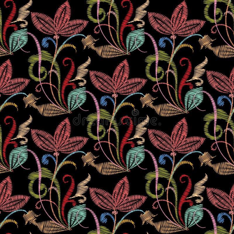Modèle sans couture floral coloré de broderie CCB de vecteur de tapisserie illustration de vecteur