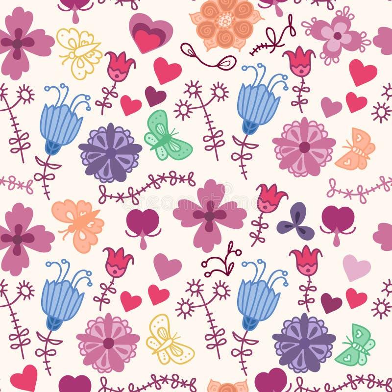 Modèle sans couture floral coloré mignon avec le butterf illustration de vecteur
