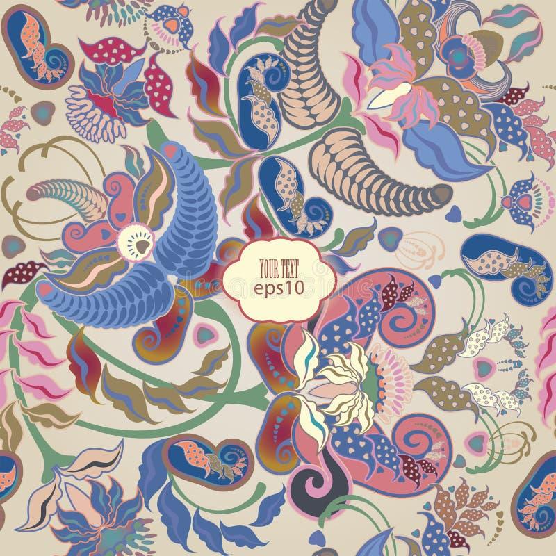 Modèle sans couture floral coloré par pastel rose illustration de vecteur
