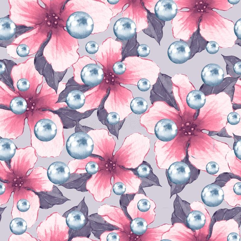 Modèle sans couture floral d'aquarelle avec des perles illustration stock