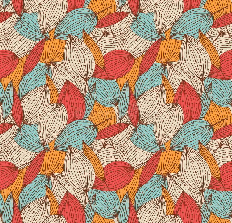 Modèle sans couture floral d'automne romantique Beau fond linéaire sans fin avec des feuilles Le vintage part de la texture illustration libre de droits
