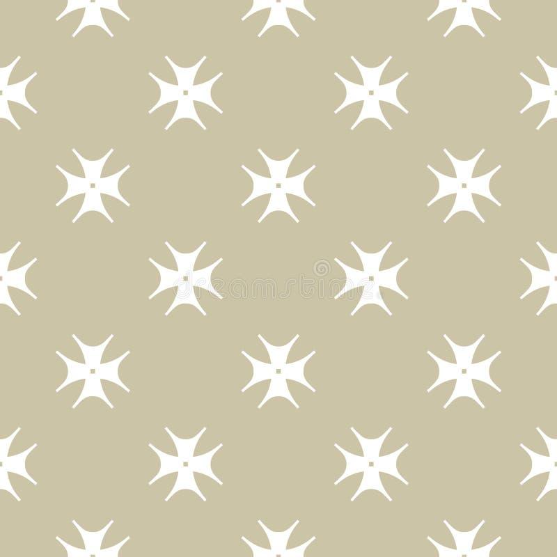 Modèle sans couture floral d'or de vecteur Fond géométrique abstrait de luxe avec des formes de fleur illustration de vecteur