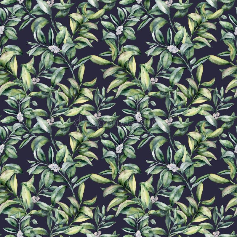 Modèle sans couture floral d'hiver d'aquarelle Branche peinte à la main de snowberry avec la baie blanche d'isolement sur le fond illustration libre de droits