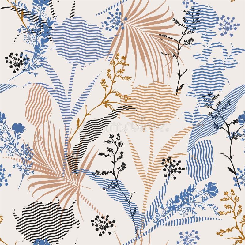 Modèle sans couture floral de belle de cru silhouette botanique de vecteur sur la rayure moderne de zigzag d'appoint, papier pein illustration de vecteur