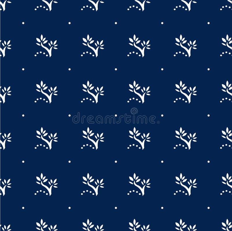 Modèle sans couture floral de bleu marine avec des points de polka image stock
