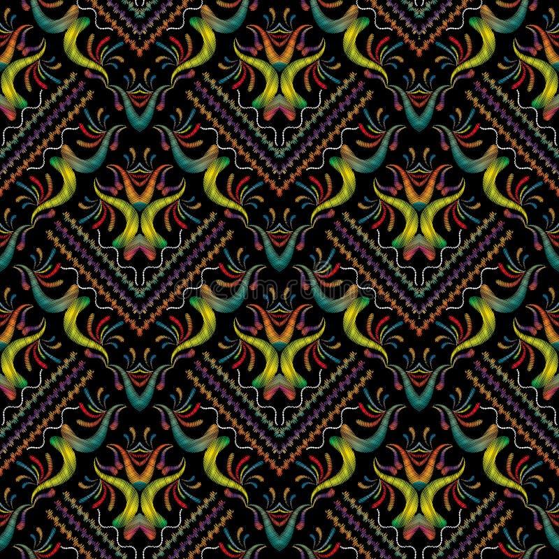 Modèle sans couture floral de broderie colorée Flo de damassé de tapisserie illustration libre de droits