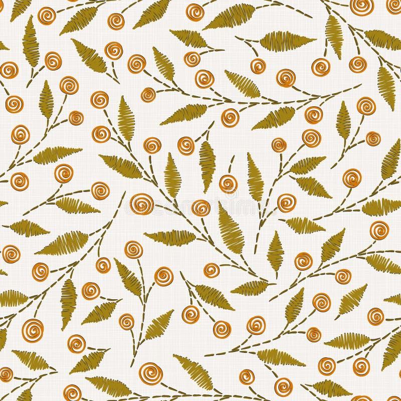 Modèle sans couture floral de broderie sur la texture de tissu de toile illustration stock