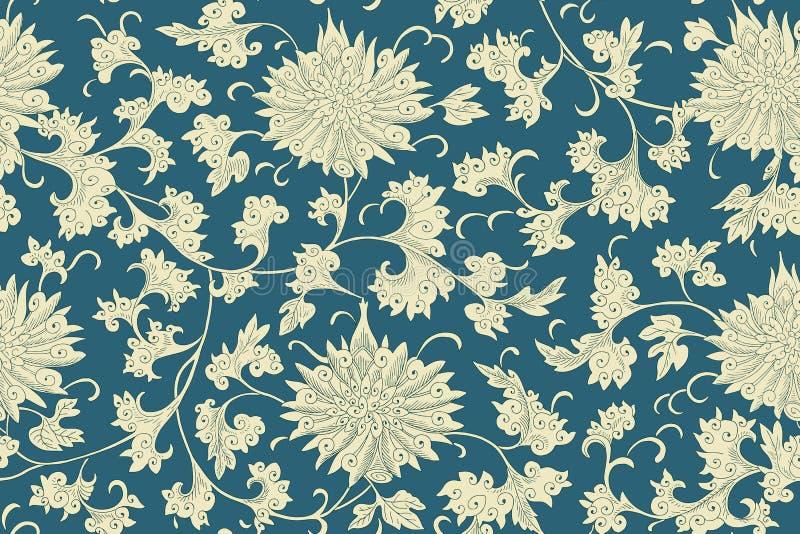 Modèle sans couture floral de chinois traditionnel pour votre conception Fond Vecteur illustration de vecteur