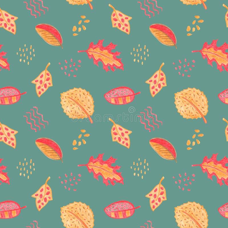 Modèle sans couture floral de feuille d'automne Feuille rouge jaune sur le fond bleu poussiéreux Illustration tirée par la main d illustration libre de droits