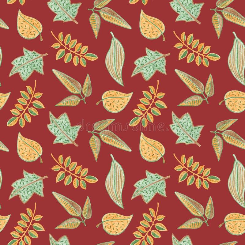 Modèle sans couture floral de feuille d'automne Feuille verte jaune sur le fond rouge foncé Illustration tirée par la main de cra illustration stock