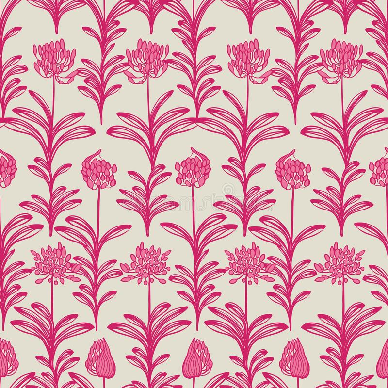 Modèle sans couture floral de floraison beige de vecteur d'été de fleur d'Africain de rose lilly pour le tissu, papier peint, scr illustration de vecteur