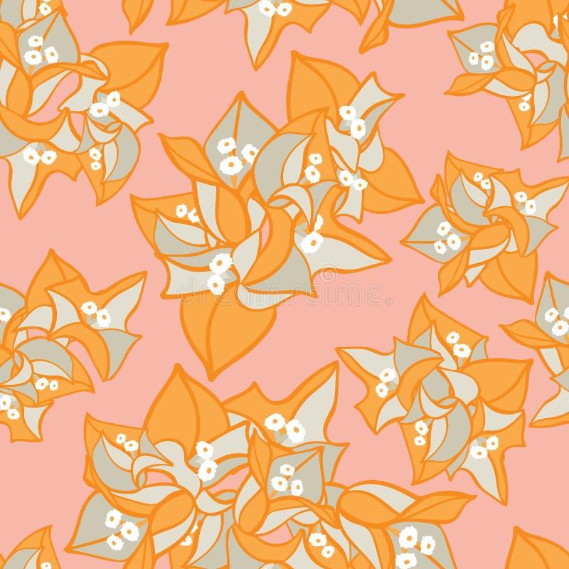 Modèle sans couture floral de floraison rose orange coloré de vecteur d'été de fleur de bouganvillée pour le tissu, papier peint illustration libre de droits