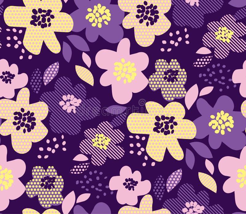 Modèle sans couture floral de luxe avec la texture géométrique illustration libre de droits