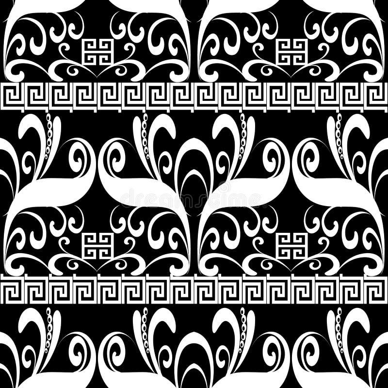 Modèle sans couture floral de méandre Vecteur Geometri noir et blanc illustration stock