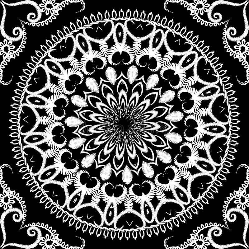 Modèle sans couture floral de mandala de broderie noire et blanche Fond d'ornamental de tapisserie Grunge tiré par la main de sty illustration de vecteur