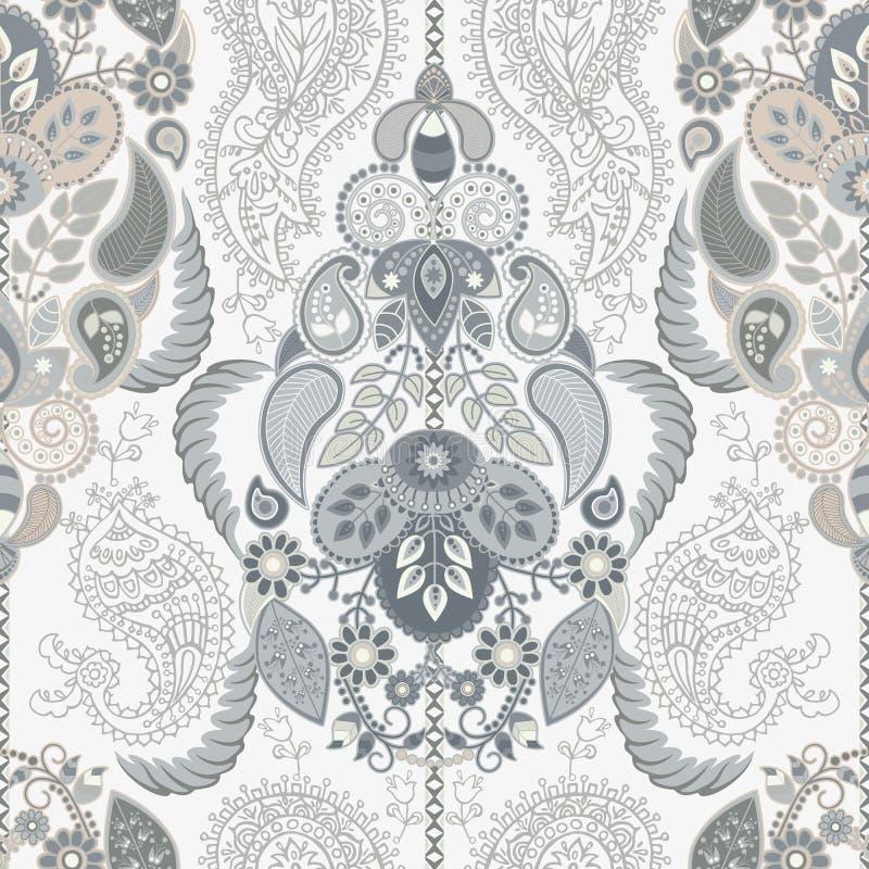 Modèle sans couture floral de Paisley Ornement indien Fleurs et Paisley décoratifs de vecteur Type ethnique Conception pour illustration de vecteur