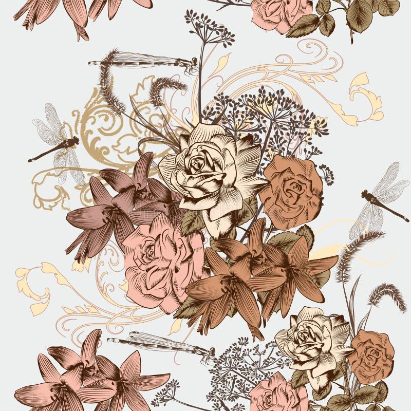 Modèle sans couture floral de papier peint dans le style de vintage illustration libre de droits