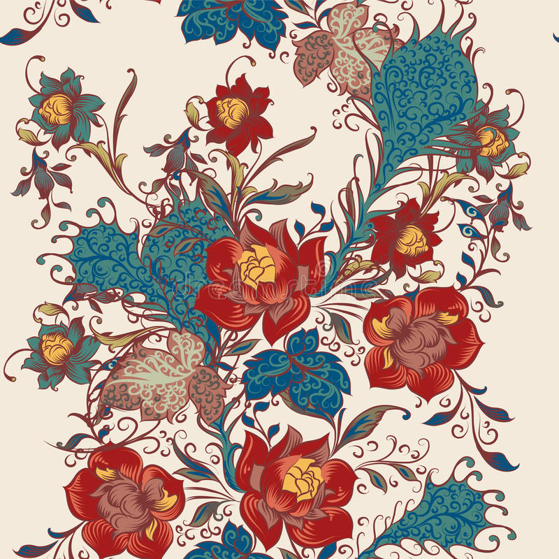 Modèle sans couture floral de papier peint de vecteur avec des fleurs dans le vintage illustration de vecteur