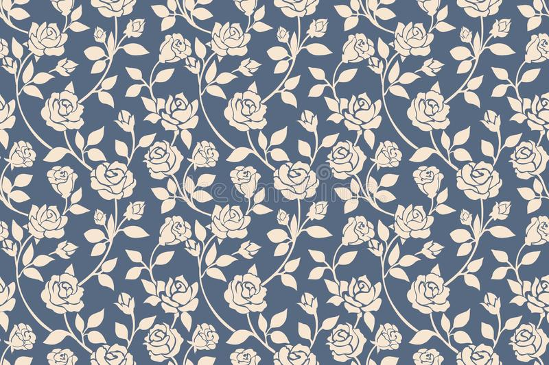 Modèle sans couture floral de roses bleues illustration libre de droits