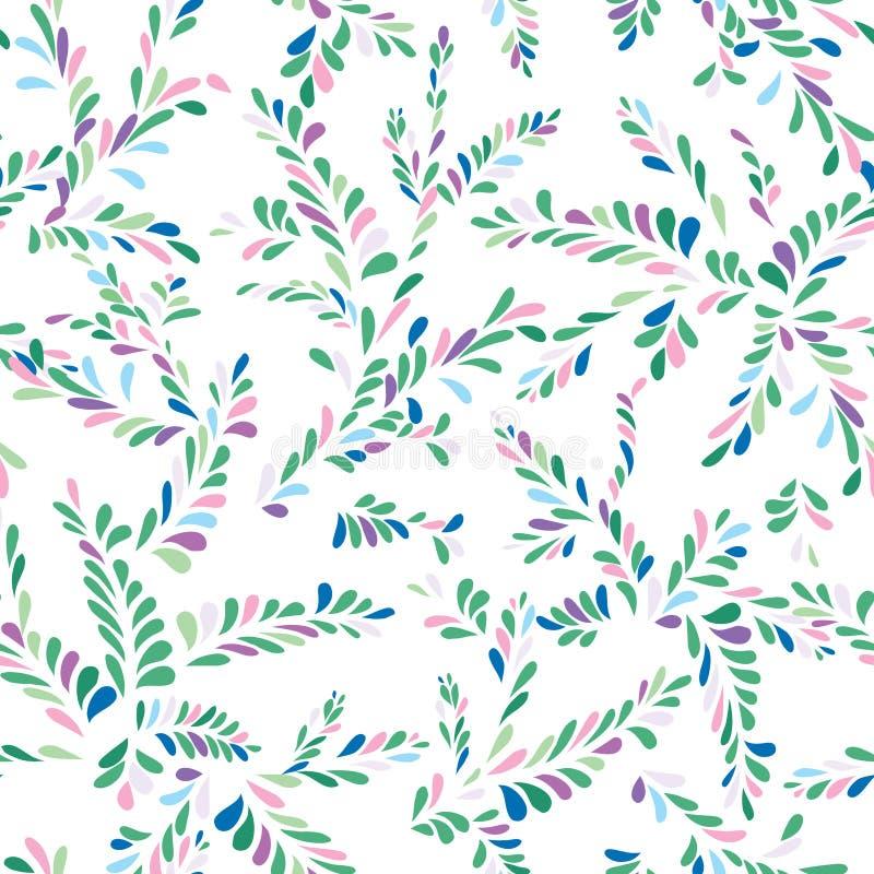 Modèle sans couture floral de tache abstraite Embranchez-vous avec l'orname de feuilles illustration stock