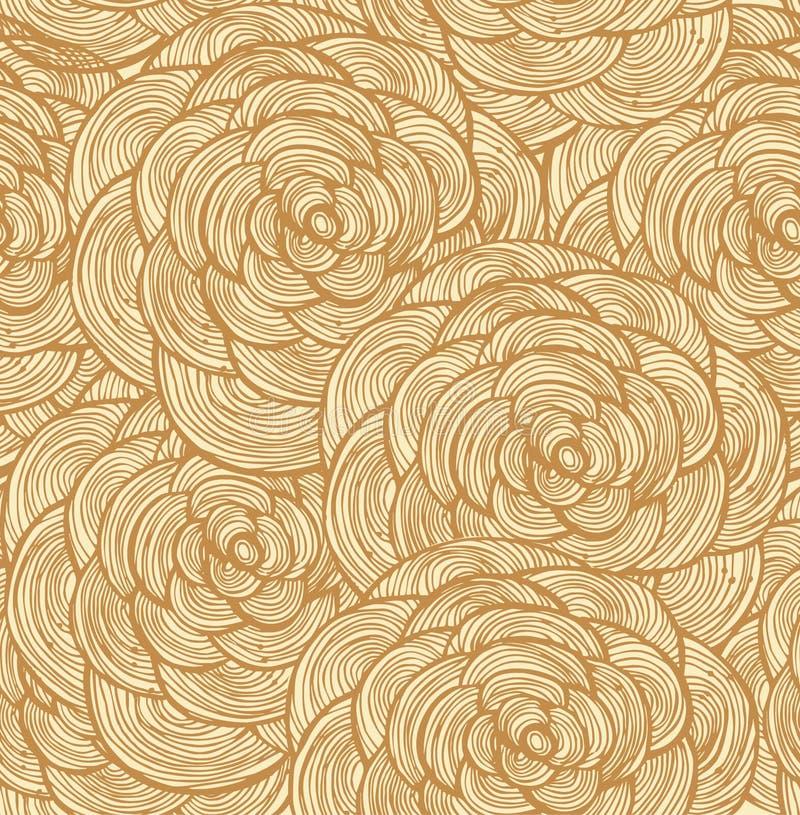 Modèle sans couture floral de tapisserie Fond décoratif de dentelle avec des roses illustration de vecteur