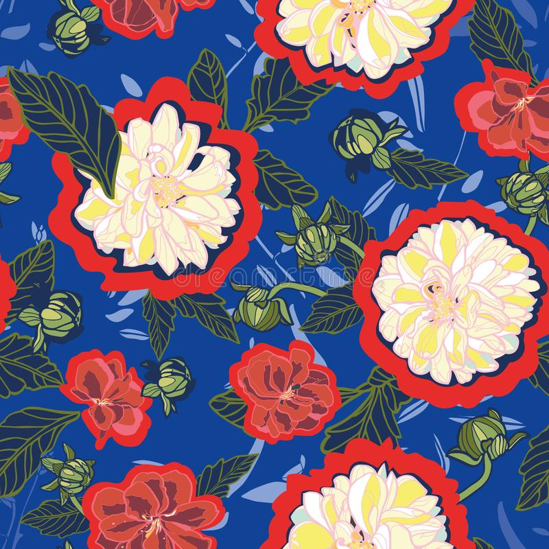 Modèle sans couture floral de vecteur avec le dahlia crème illustration libre de droits