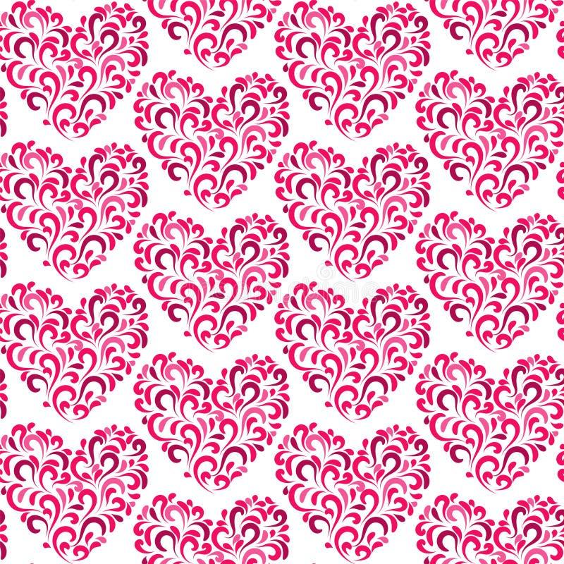 MODÈLE SANS COUTURE FLORAL DE VECTEUR D'AMOUR À LA MODE TEXTURE DIVERSE D'ART DE COEUR DE SYMBOLE Fond de jour de valentines illustration de vecteur
