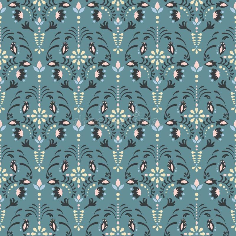 Modèle sans couture floral de vecteur de damassé illustration de vecteur