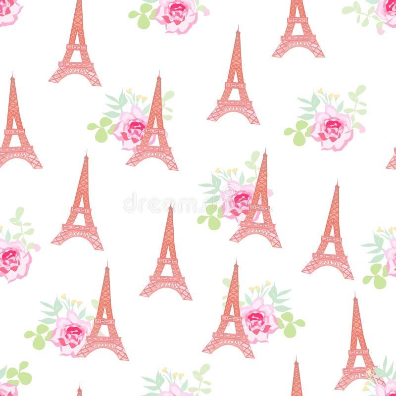 Modèle sans couture floral de vecteur de Tours Eiffel mignons illustration de vecteur