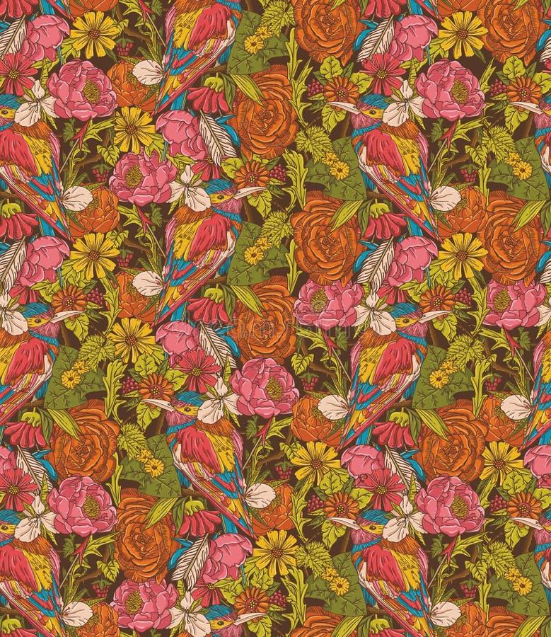Modèle sans couture floral de vintage avec l'oiseau de ronflement illustration stock