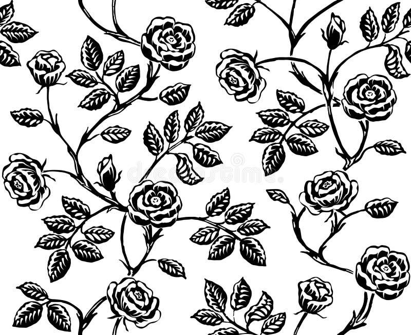 Modèle sans couture floral de vintage avec les roses tirées par la main classiques illustration libre de droits