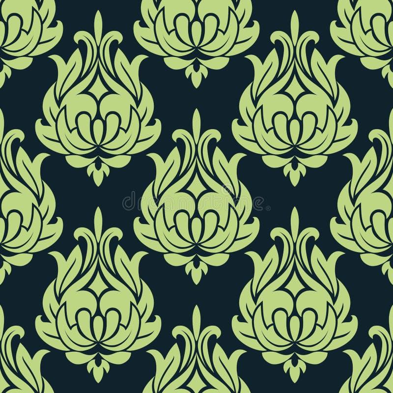 Modèle sans couture floral de vintage bleu et vert illustration libre de droits
