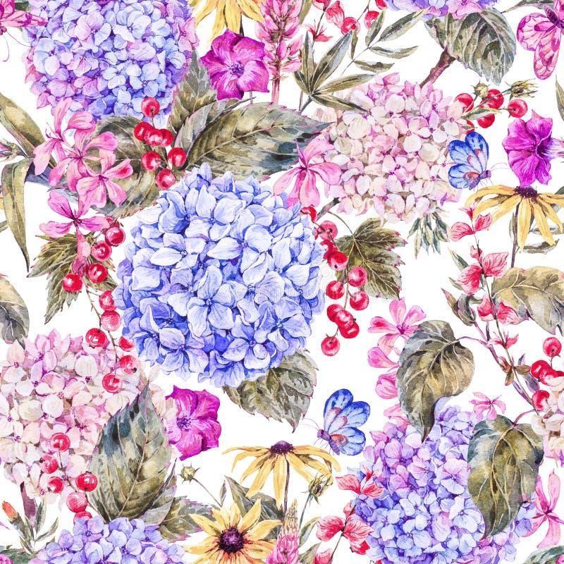 Modèle sans couture floral de vintage d'aquarelle illustration stock