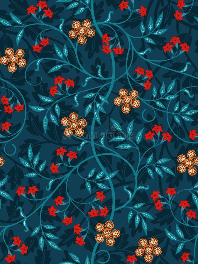 Modèle sans couture floral de vintage sur le fond foncé Couleurs vives Illustration de vecteur illustration stock