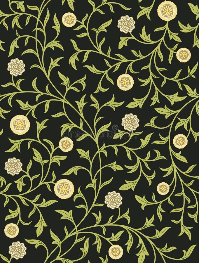 Modèle sans couture floral de vintage sur le fond foncé Illustration de vecteur illustration de vecteur