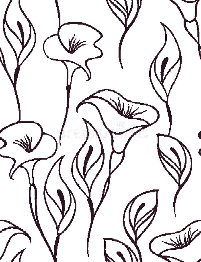 Modèle sans couture floral doux avec un fond blanc illustration stock
