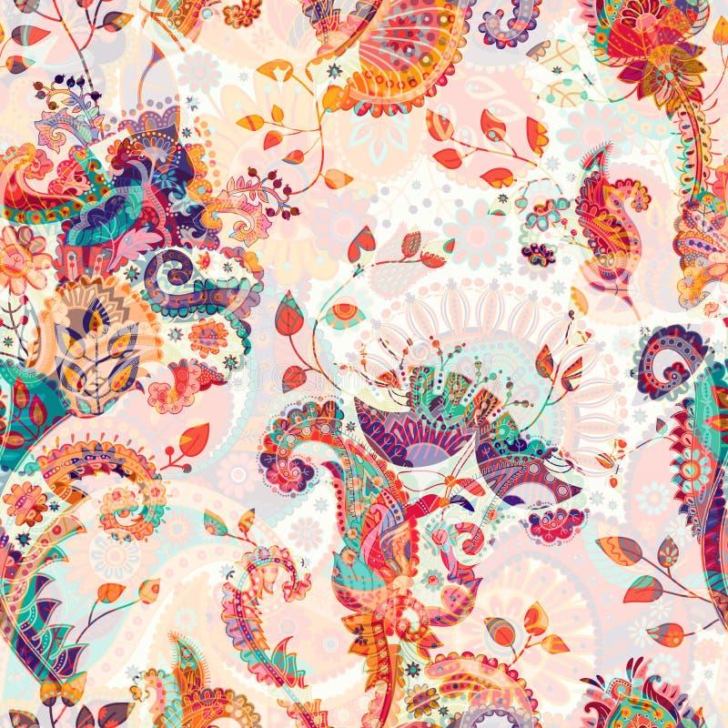 Modèle sans couture floral, effet de texture Ornement coloré indien Fleurs et Paisley décoratifs de vecteur Type ethnique illustration stock