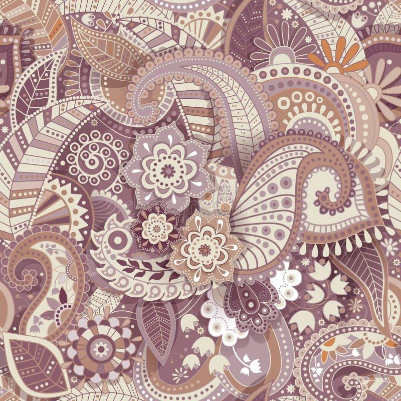 Modèle sans couture floral, effet de texture Ornement coloré indien Fleurs et Paisley décoratifs de vecteur Type ethnique illustration libre de droits