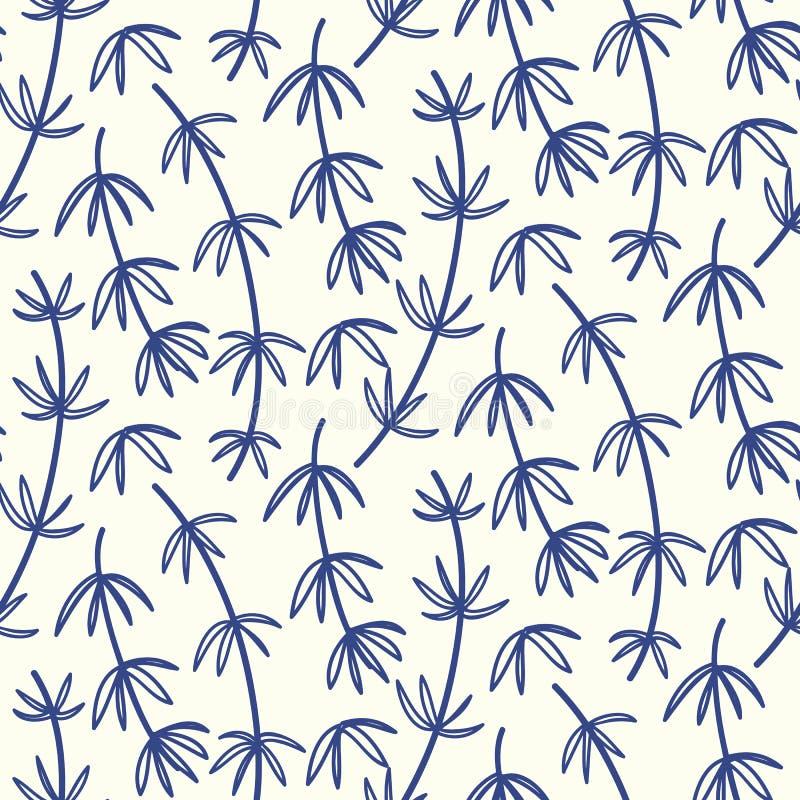 Modèle sans couture floral en bambou tiré par la main illustration de vecteur