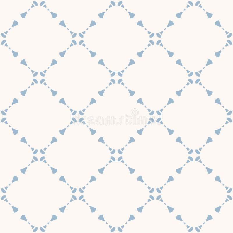 Modèle sans couture floral géométrique d'abrégé sur subtil vecteur Bleu-clair et blanc illustration stock