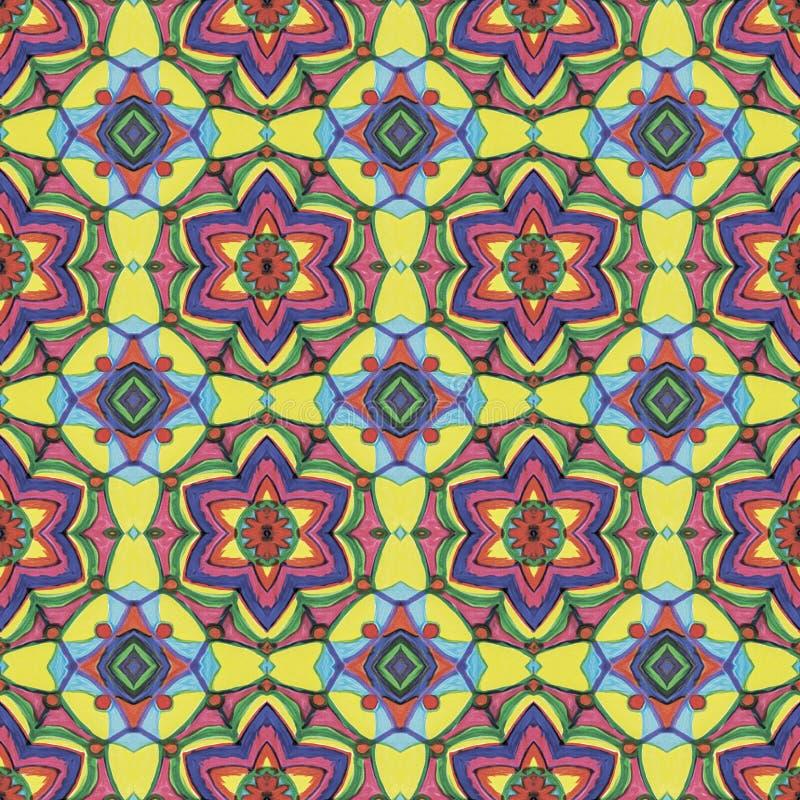 Modèle sans couture floral géométrique jaune, bleu, rouge, pourpre photographie stock libre de droits