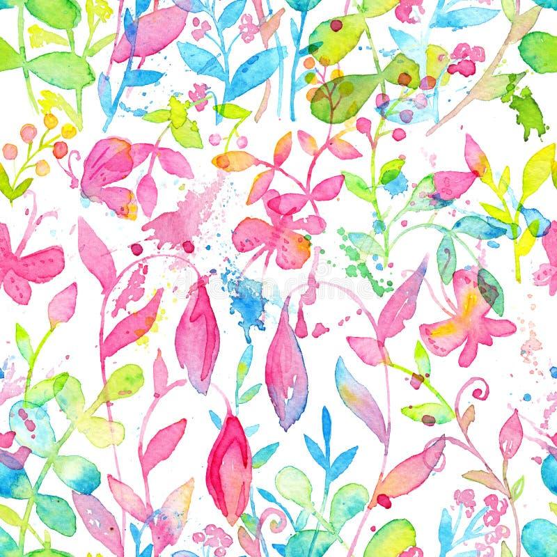 Modèle sans couture floral heureux et lumineux avec les fleurs et les feuilles tirées par la main d'aquarelle illustration de vecteur